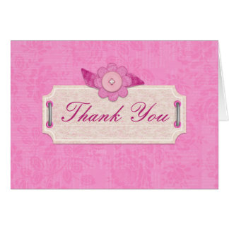 Craft Style Pink Thank You Card