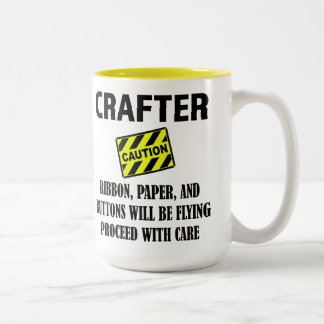 Crafter Caution Big Coffee Cup Two Toned