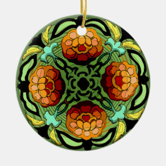 Craftsman Autumn Garden (Ceramic Fan Pull / Orname Round Ceramic Ornament