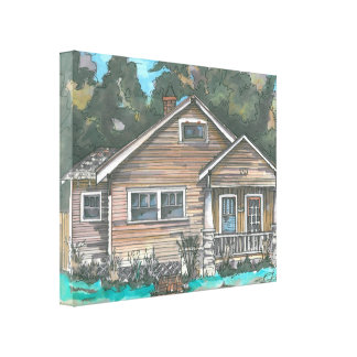 Craftsman Bungalow on Stretched Canvas Canvas Print