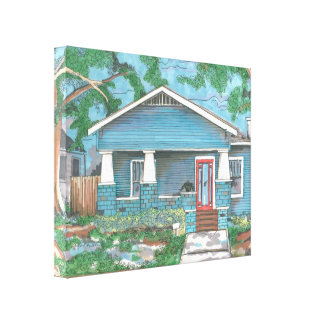 Craftsman House on Stretched Canvas Stretched Canvas Print