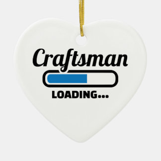 Craftsman loading ceramic heart ornament