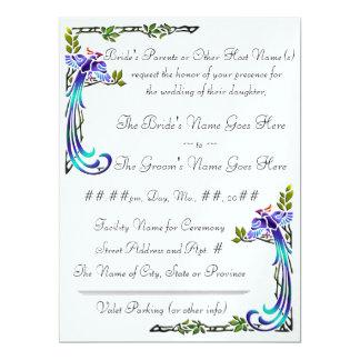 "Craftsman Peacocks (Metallic Wedding Invitation) 6.5"" X 8.75"" Invitation Card"