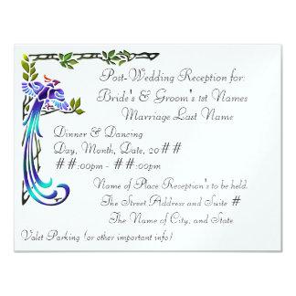 "Craftsman Peacocks (Metallic Wedding Reception) 4.25"" X 5.5"" Invitation Card"