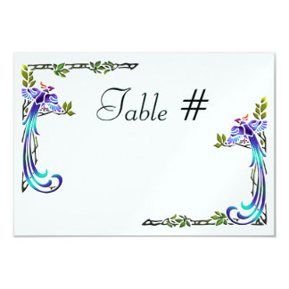 """Craftsman Peacocks (Table Numbers) 3.5"""" X 5"""" Invitation Card"""