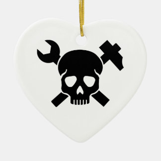 Craftsman skull ceramic heart ornament