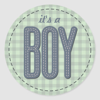 Crafty Baby Shower Boy Blue Round Sticker