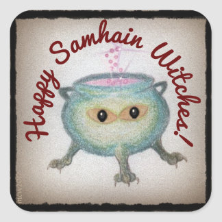 Crafty Cauldron Samhain Wishes Pagan Witch Wiccan Square Sticker