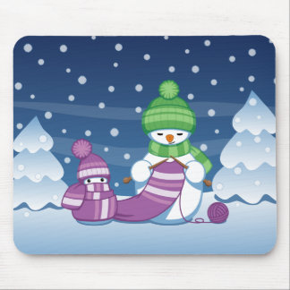 Crafty Snowman Knitting Scarf Mouse Pad