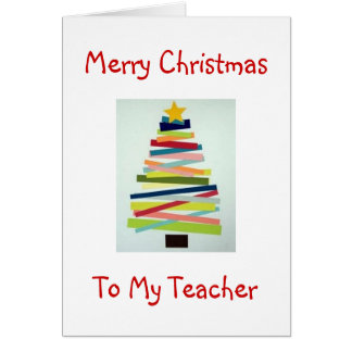 CRAFTY TREE FOR SPECIAL TEACHER AT CHRISTMAS GREETING CARD