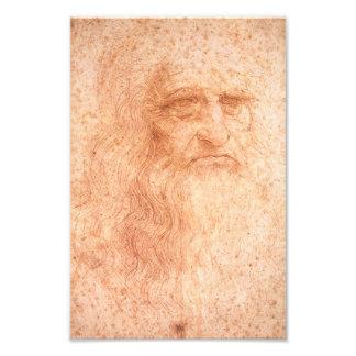 Craie de rouge d'autoportrait de Leonardo da Vinci Impressions Photo