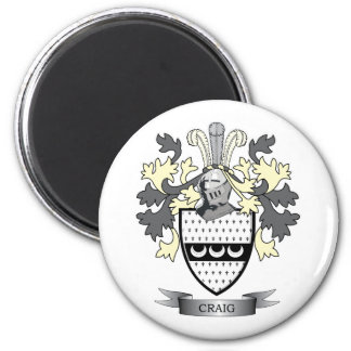 Craig Family Crest Coat of Arms 2 Inch Round Magnet