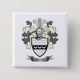Craig Family Crest Coat of Arms 2 Inch Square Button