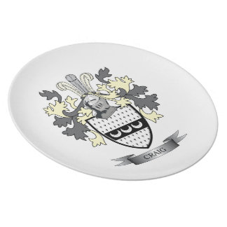 Craig Family Crest Coat of Arms Dinner Plates