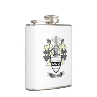 Craig Family Crest Coat of Arms Hip Flask
