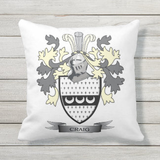Craig Family Crest Coat of Arms Outdoor Pillow