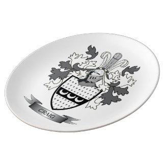 Craig Family Crest Coat of Arms Porcelain Plates