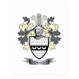 Craig Family Crest Coat of Arms Postcard