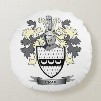 Craig Family Crest Coat of Arms Round Pillow