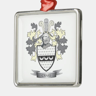 Craig Family Crest Coat of Arms Silver-Colored Square Ornament