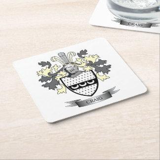 Craig Family Crest Coat of Arms Square Paper Coaster