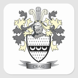 Craig Family Crest Coat of Arms Square Sticker