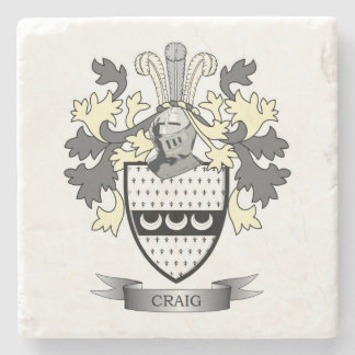 Craig Family Crest Coat of Arms Stone Coaster