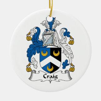 Craig Family Crest Round Ceramic Ornament