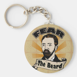 Craignez la barbe, moustache drôle porte-clé rond