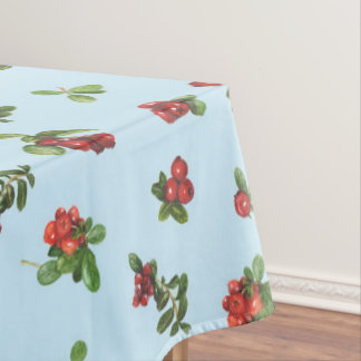 Cranberries blue background tablecloth