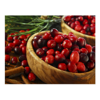 Cranberries in bowls postcard