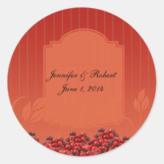 Cranberries on Orange Stripe Classic Round Sticker