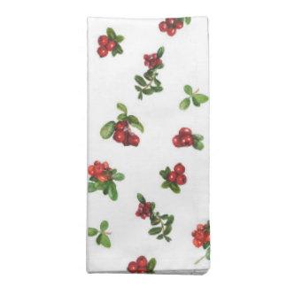 Cranberries on white background napkin