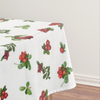Cranberries on white background tablecloth