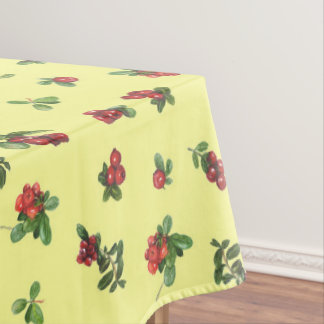 Cranberries yellow background tablecloth