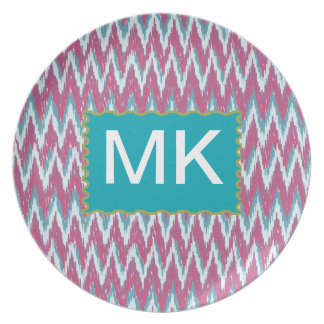 Cranberry and Teal iKat ZigZag Pattern Party Plate