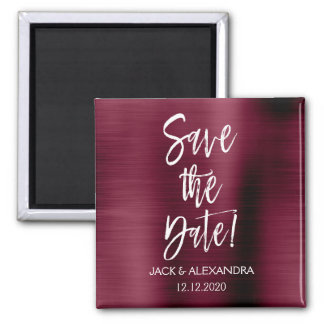 Cranberry Burgundy and White Save the Date Magnet