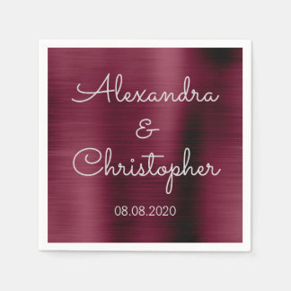 Cranberry Burgundy Wedding or Reception Disposable Napkin