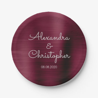 Cranberry Burgundy Wedding or Reception Paper Plate