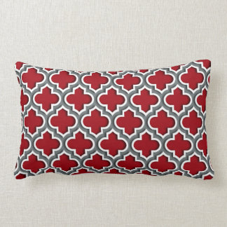 Cranberry Charcoal White Moroccan Quatrefoil #5DS Lumbar Pillow