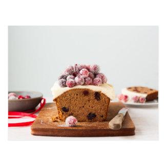 Cranberry chestnut cake Christmas postcard
