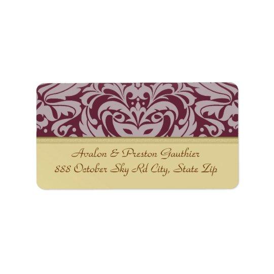 Cranberry Damask Gold Metal Wedding Address Label