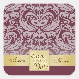 Cranberry Damask Gold Ribbon Save The Date Sticker
