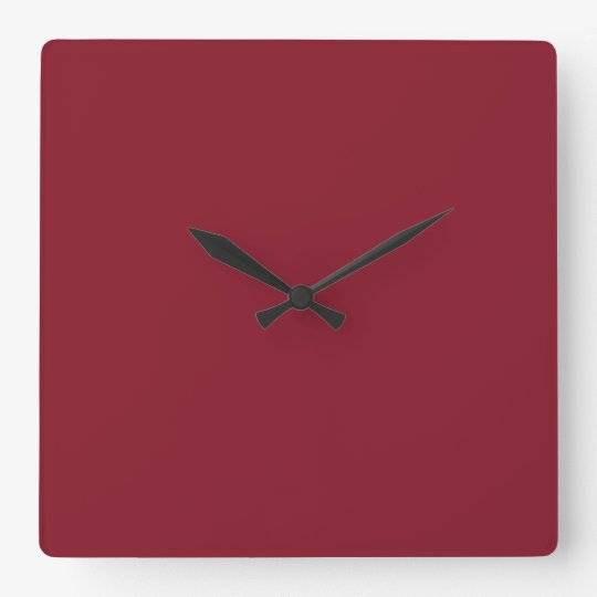 Cranberry Dark Red Solid Trend Colour Background Square Wall Clock
