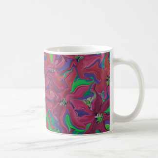 Cranberry flowers abstract art coffee cup