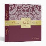 Cranberry Half Damask Gold Ribbon Wedding Album 3 Ring Binder