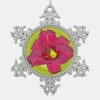 Cranberry Lily - Daylily Snowflake Pewter Christmas Ornament