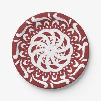 Cranberry Mandala 7 Inch Paper Plate