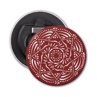 Cranberry Mandala Button Bottle Opener