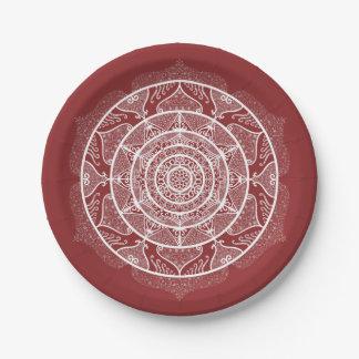 Cranberry Mandala Paper Plate